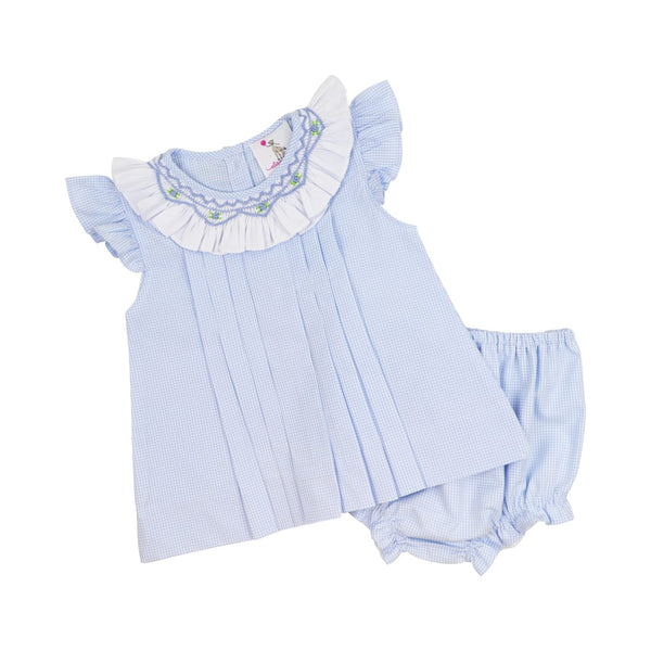 Blue Gingham Smocked Pleated Diaper Set