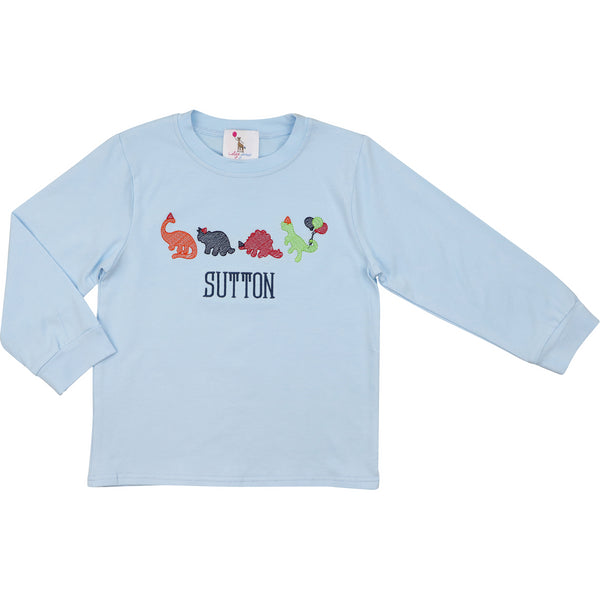 Blue Knit Birthday Dinosaur Shirt