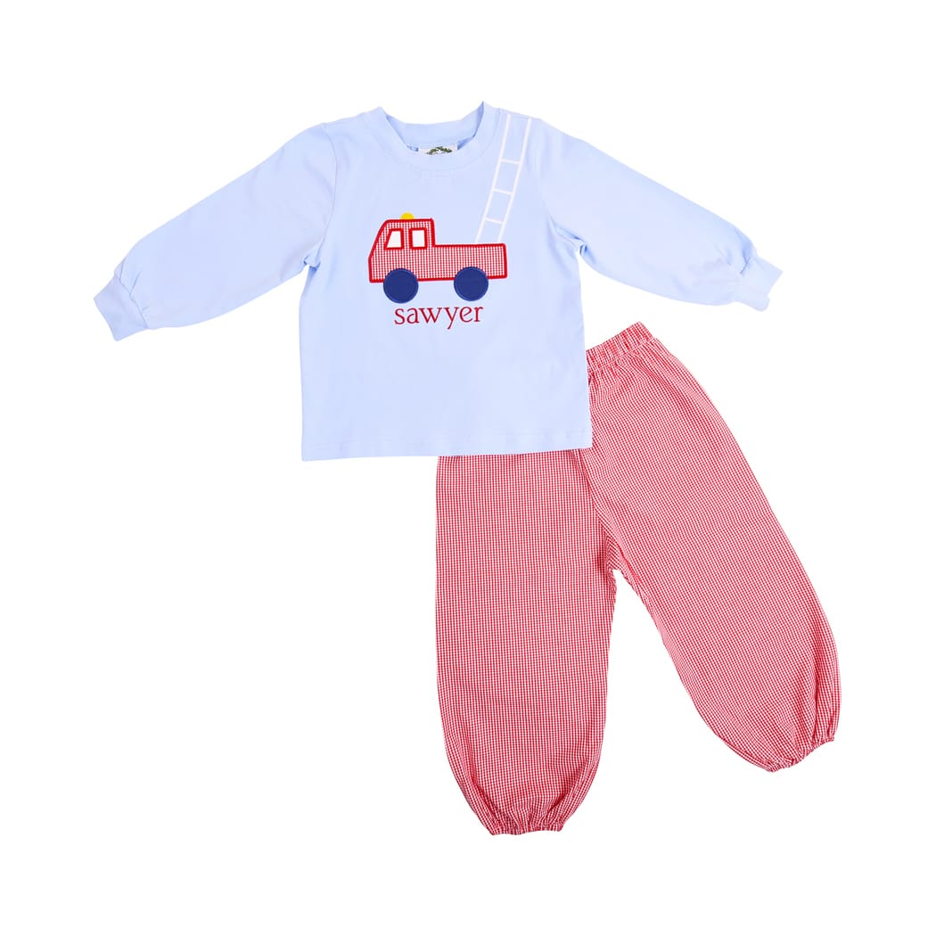 Blue Knit Firetruck Red Gingham Pant Set