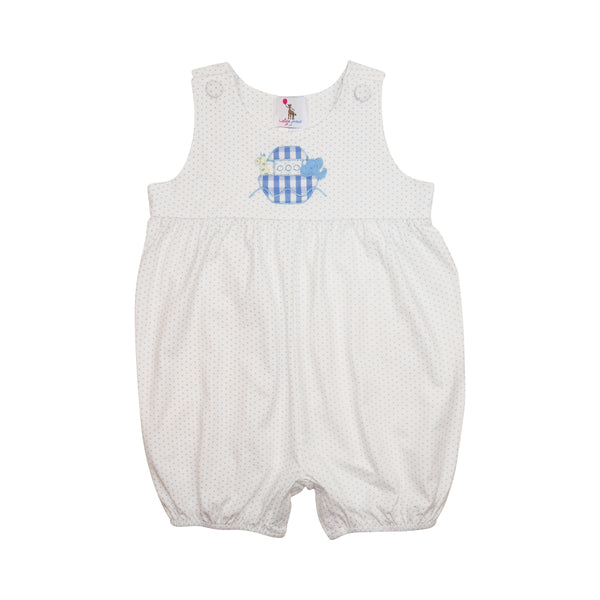 Blue Mini Dot Knit Noah's Ark Short Romper