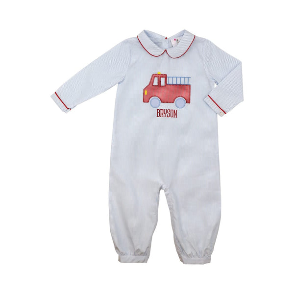 Blue Mini Stripe Firetruck Long Romper