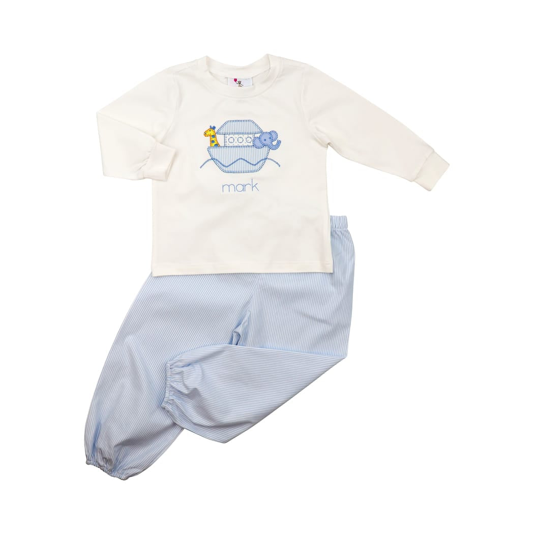 Blue Mini Stripe Noah's Ark Pant Set