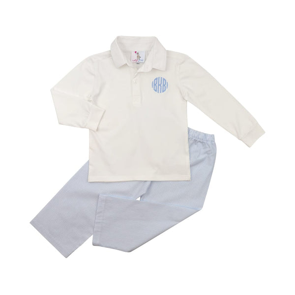 Blue Mini Stripe Polo Pant Set