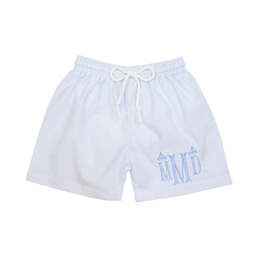 Blue Mini Stripe Swim Trunks