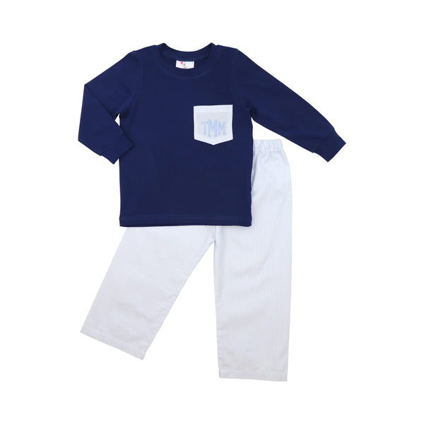 Blue Mini Stripe and Navy Pant Set