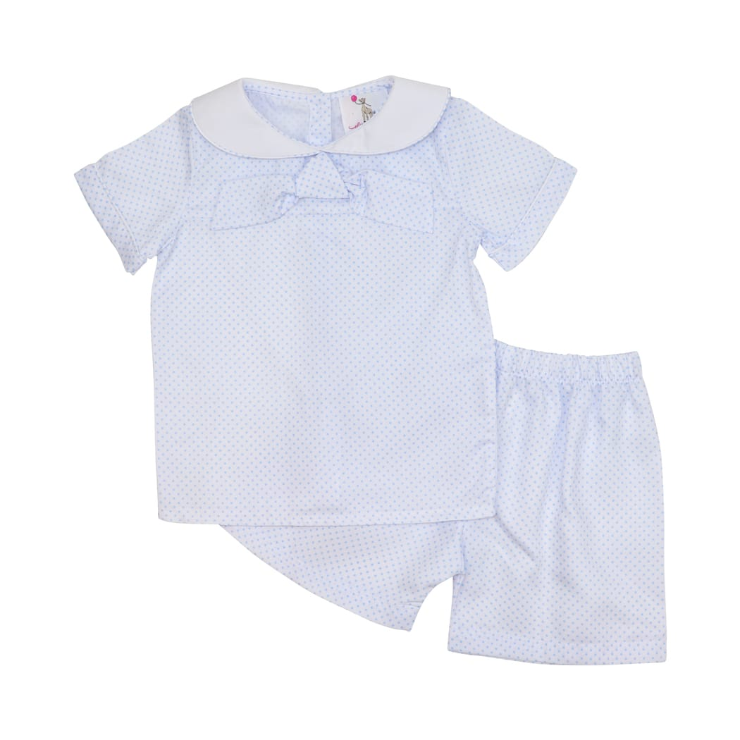 Blue Pique Dot Sailor Short Set