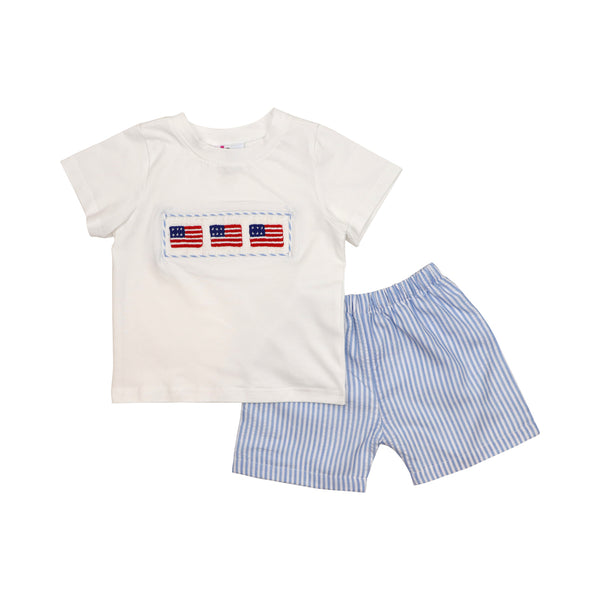 Blue Seersucker Smocked Flag Short Set