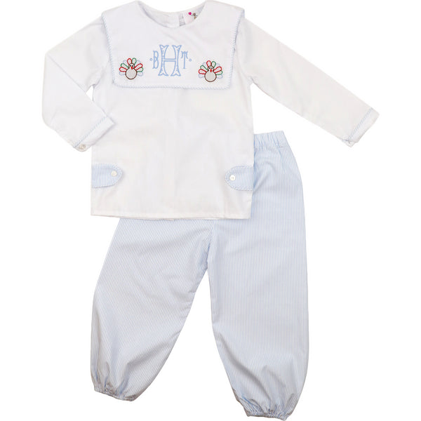 Blue Shadow Embroidered Turkey Pant Set