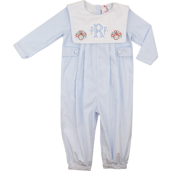 Blue Shadow Embroidered Turkey Long Romper