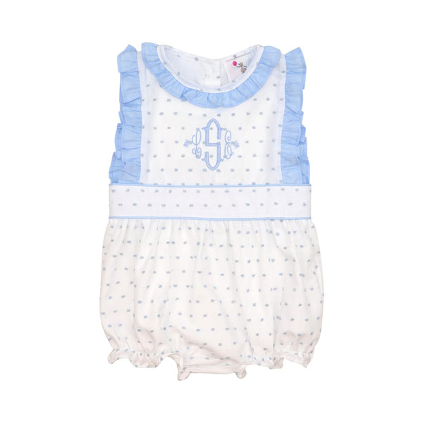 Blue Swiss Dot with Blue Trim Girls Bubble