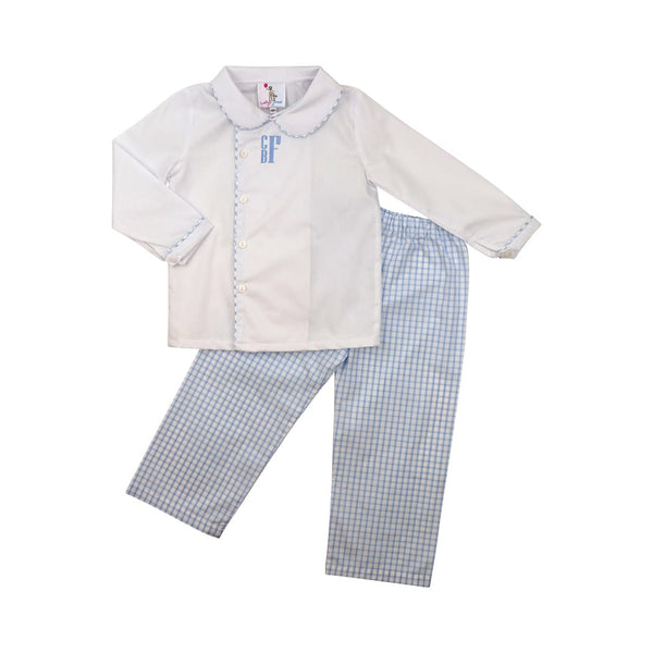 Blue Windowpane Side Button Pant Set
