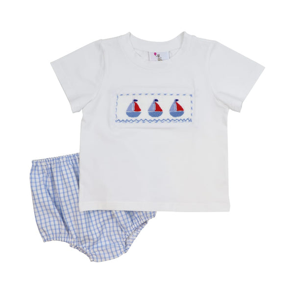 Blue Windowpane Smocked Sailboat Diaper Set