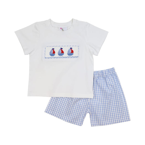Blue Windowpane Smocked Sailboat Short Set