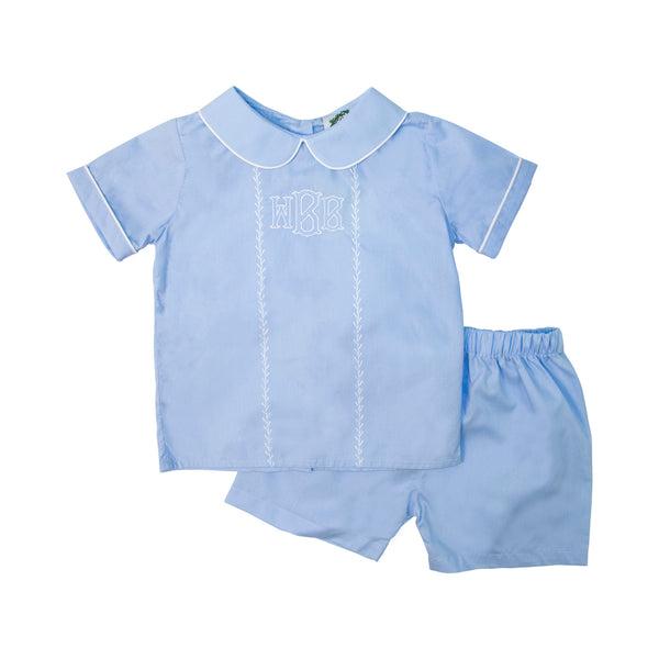 Blue Boys Short Set with White Stitching