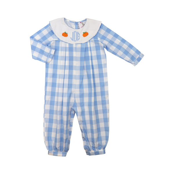 Blue Buffalo Check Pumpkin Long Romper