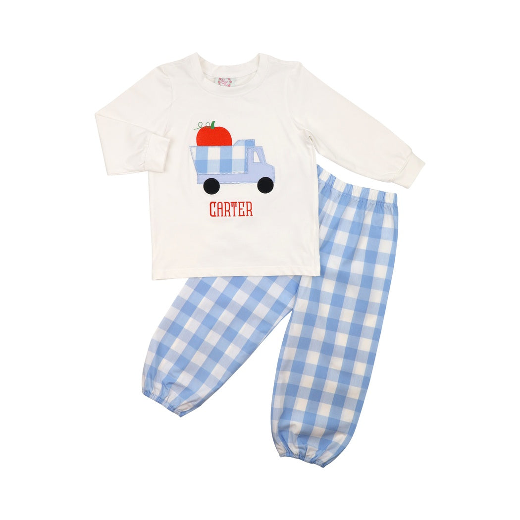 Blue Buffalo Check Pumpkin Truck Pant Set