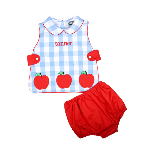 Blue Check Applique Apple Diaper Set