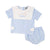 Blue Check Knit Diaper Set
