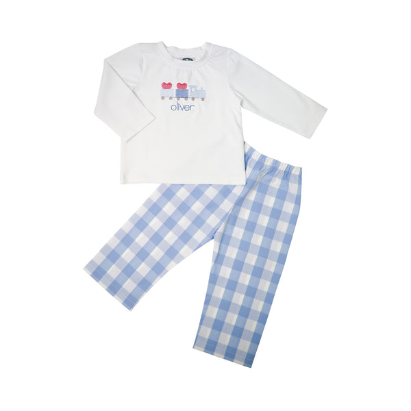 Blue Check Pant Set