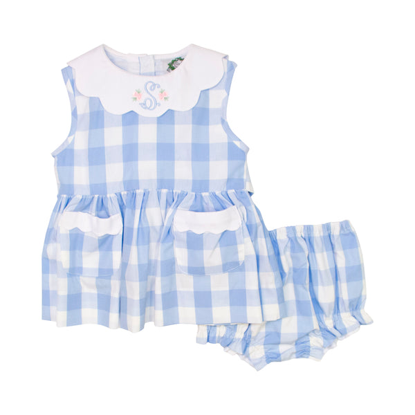 Blue Check Scalloped Collar Diaper Set