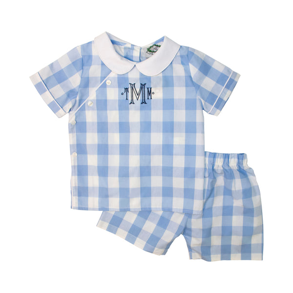 Blue Check Side Button Short Set