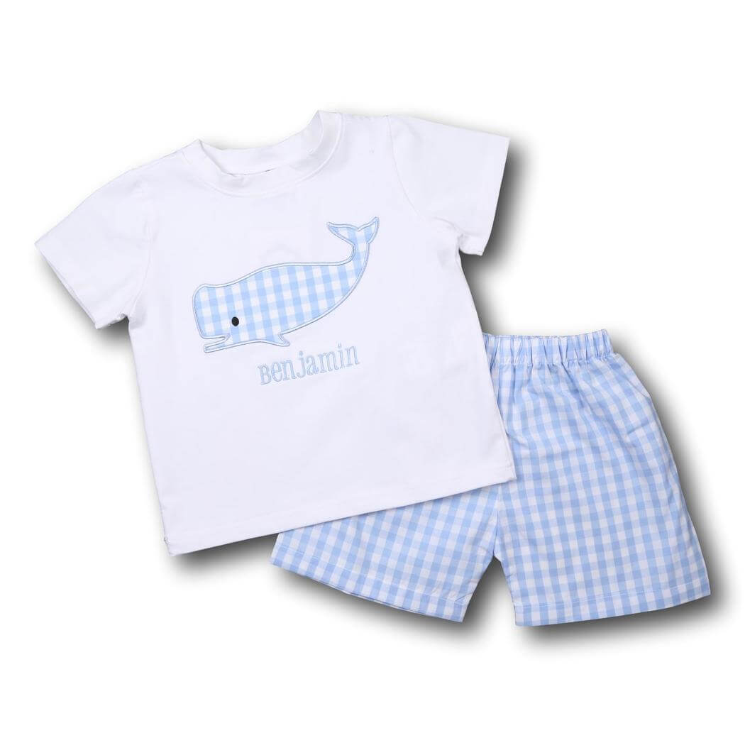 Blue Check Whale Short Set