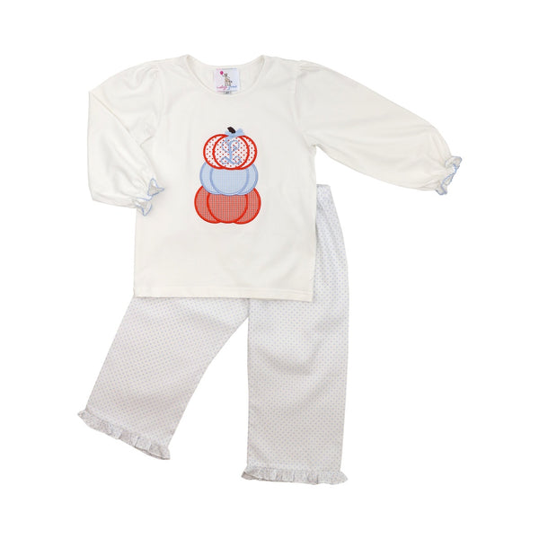 Blue Dot Appliqué Pumpkin Pant Set