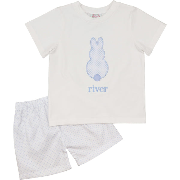 Blue Dot Applique Bunny Short Set