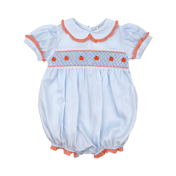 Blue Pique Dot Smocked Pumpkin Girls Bubble