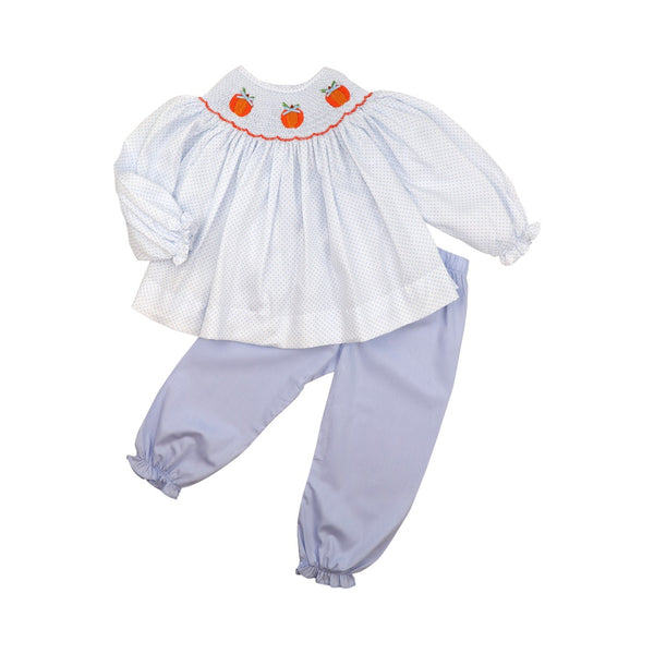 Blue Dot Smocked Pumpkin Pant Set