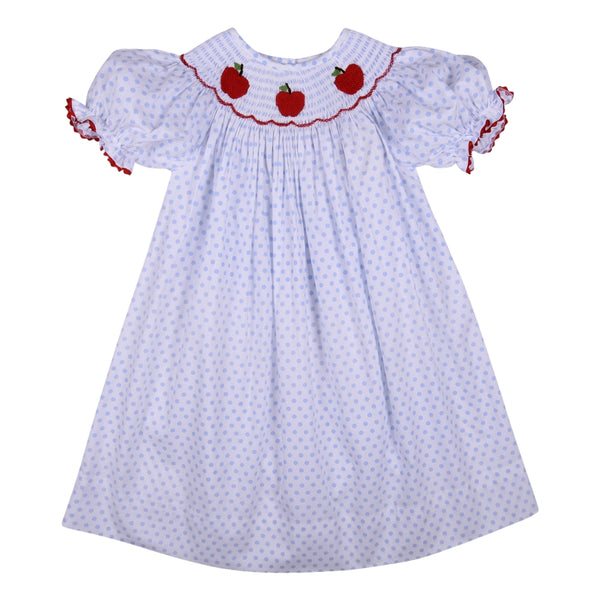 Blue Dot Smocked Apple Girls Bishop Dress