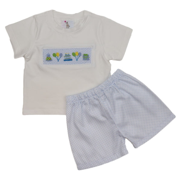 Blue Dot Smocked Birthday Short Set
