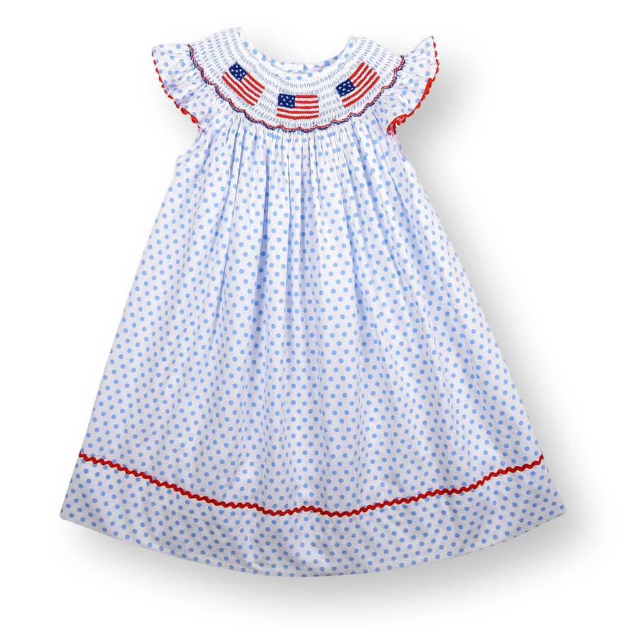 Blue Dot Smocked Flag Bishop Dress