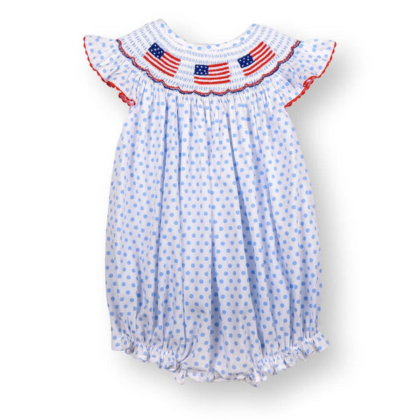 Blue Dot Smocked Flag Girls Bubble