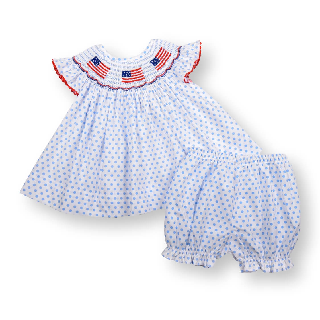 Blue Dot Smocked Flag Scalloped Bloomer Set