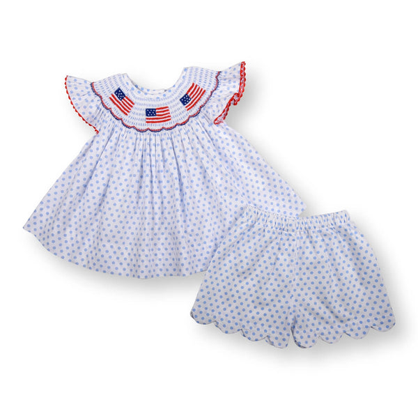Blue Dot Smocked Flag Scalloped Short Set