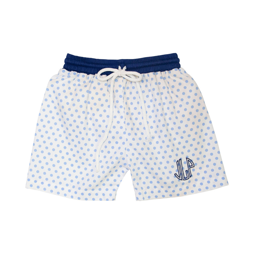 Blue Dot Swim Trunks with Navy Trim