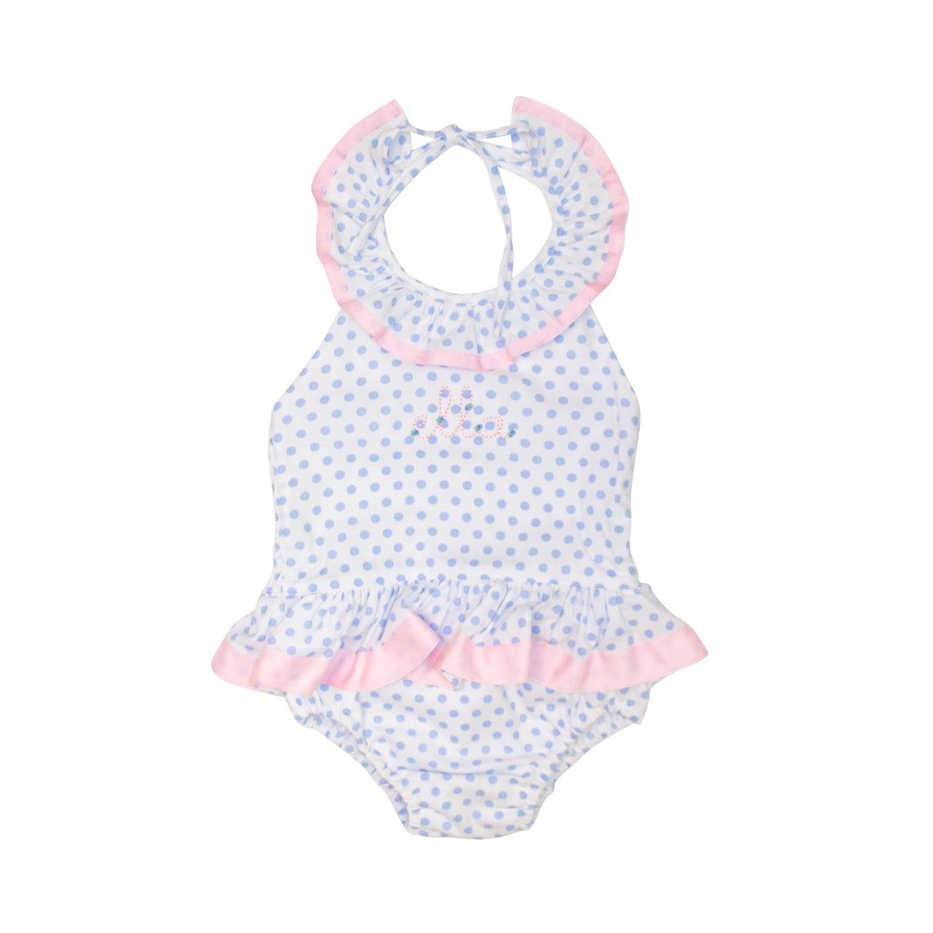 Blue Dot Swimsuit with Pink Ribbon Trim