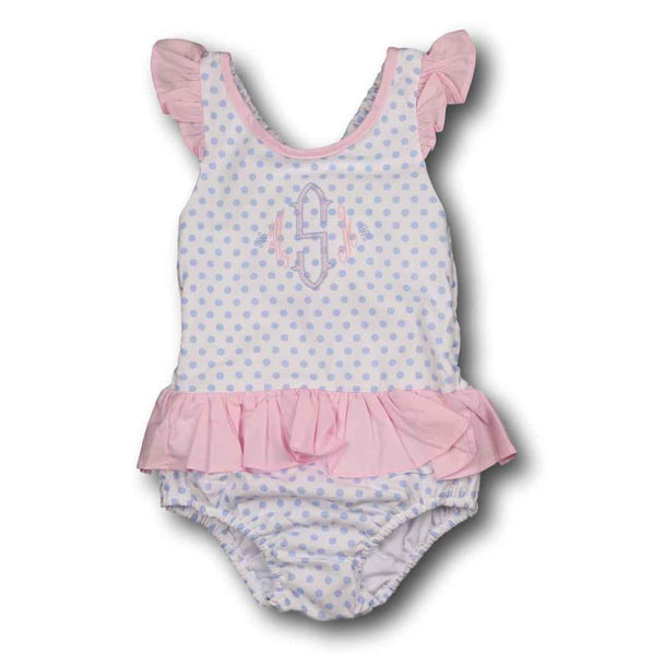 Blue Dot Swimsuit with Pink Trim