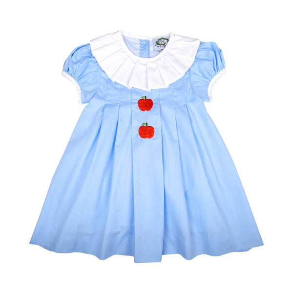 Blue Embroidered Apple Pleated Dress