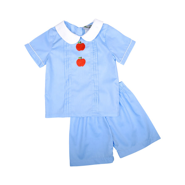 Blue Embroidered Apple Short Set