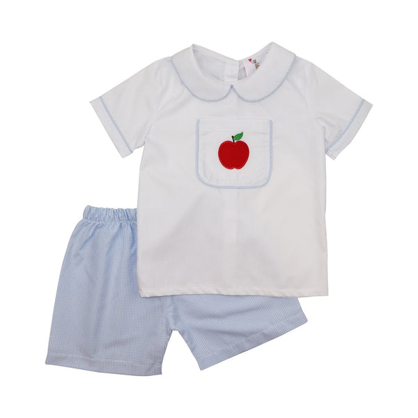 Blue Gingham Apple Short Set