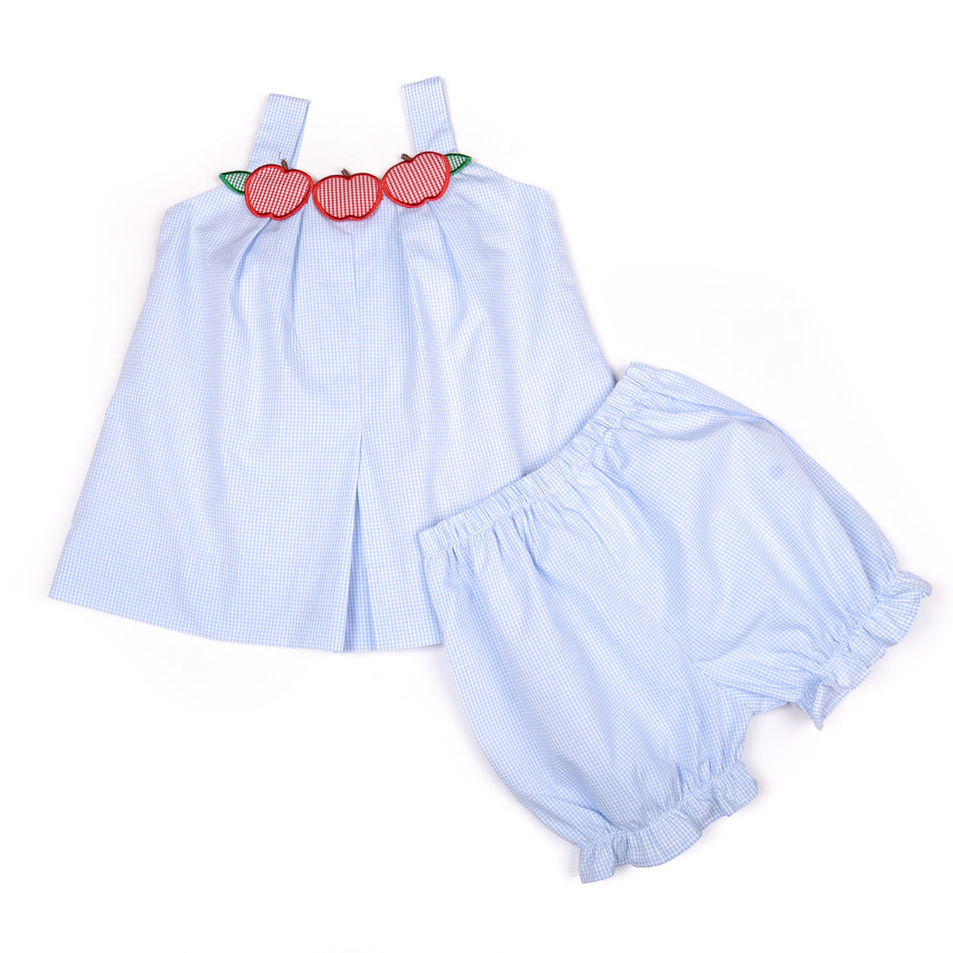 Blue Gingham Applique Apple Pleated Bloomer Set