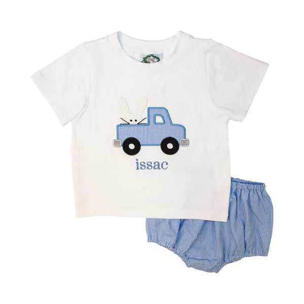 Blue Gingham Applique Bunny Diaper Set