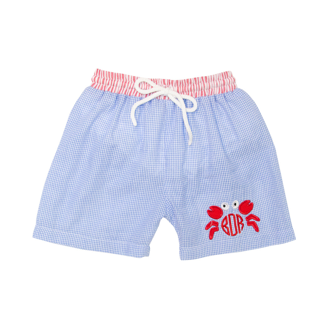 Blue Gingham Applique Crab Swim Trunks