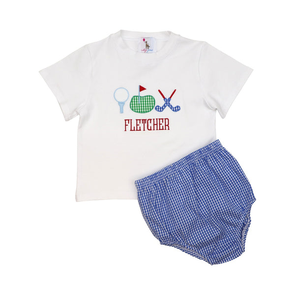 Blue Gingham Applique Golf Diaper Set