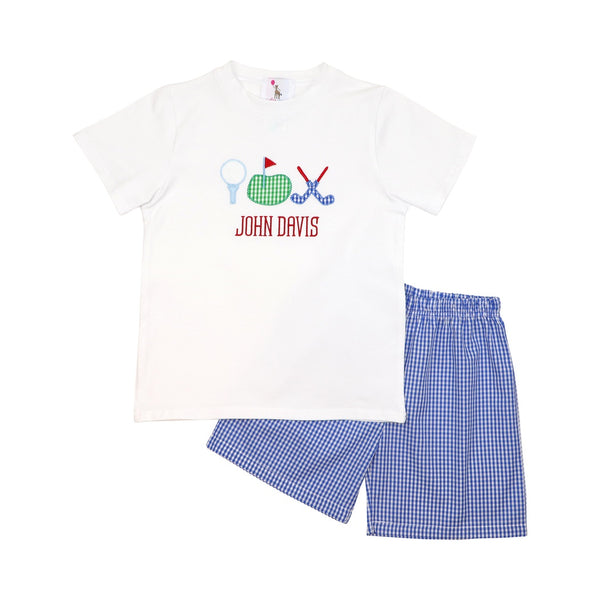 Blue Gingham Applique Golf Short Set