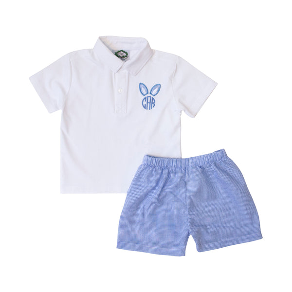 Blue Gingham Bunny Polo Set