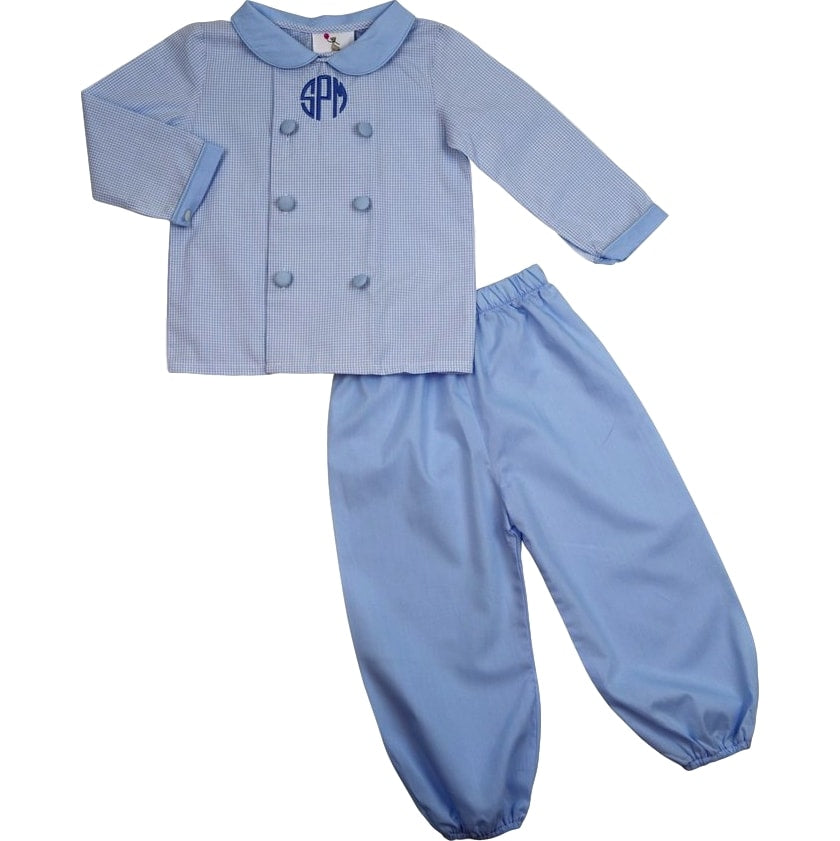 Blue Gingham Double Breasted Pant Set