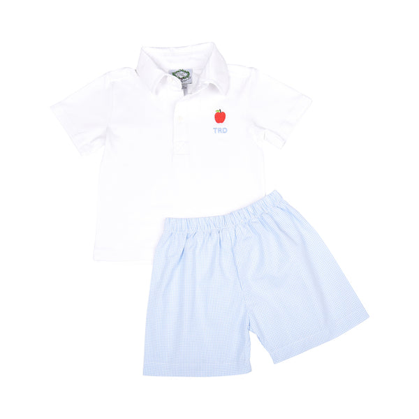 Blue Gingham Embroidered Apple Short Set